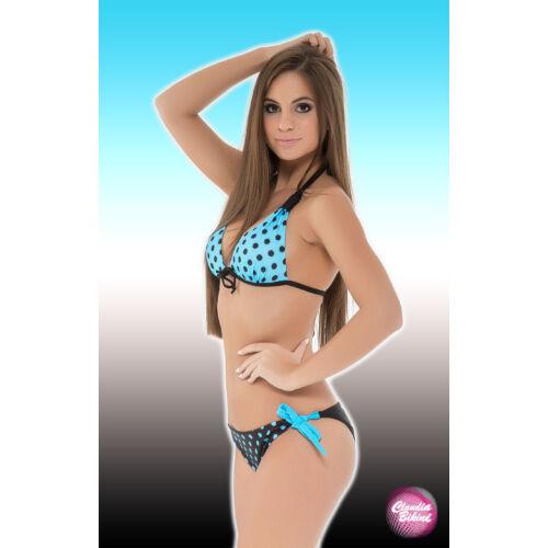 Mintás háromszög bikini, féltangával