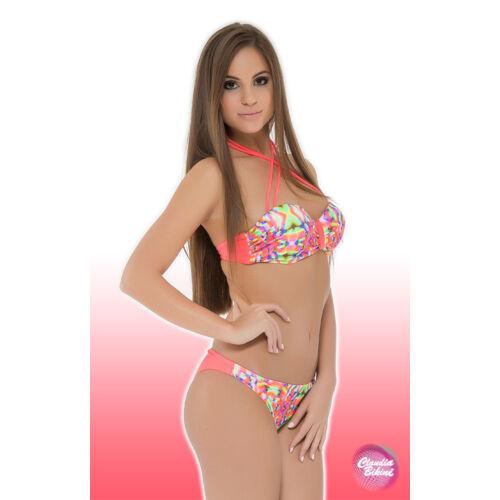 Batikolt push up bandeau bikini, fix alsóval.